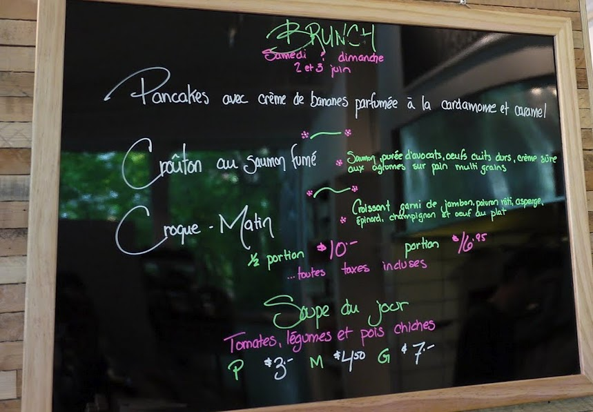 Brunch menu at La Boite Gourmande