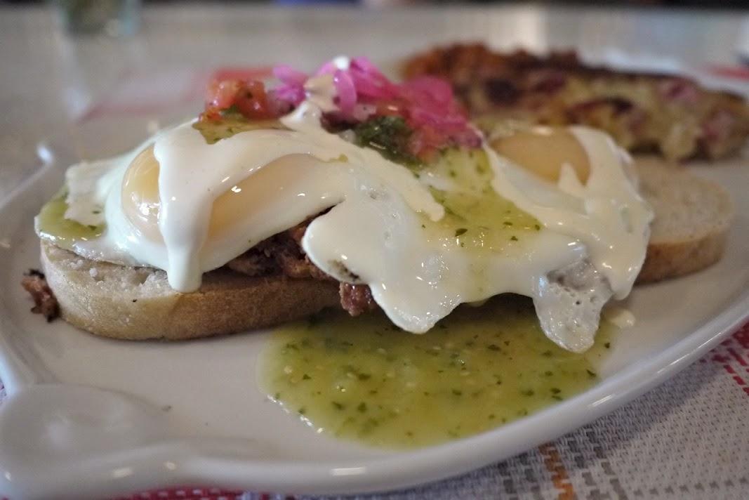 Le Gros JambonHuevos  Rancheros with homemade chorizo