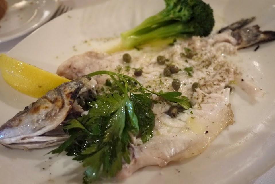 Milos' Lavraki fish, a Mediterranean sea bass.