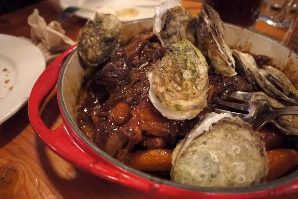 Glazed apple beef roastwith oysters at Au Pied de Cochon