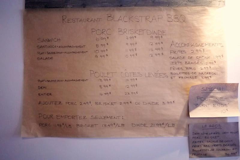 Blackstrap BBQ's menu