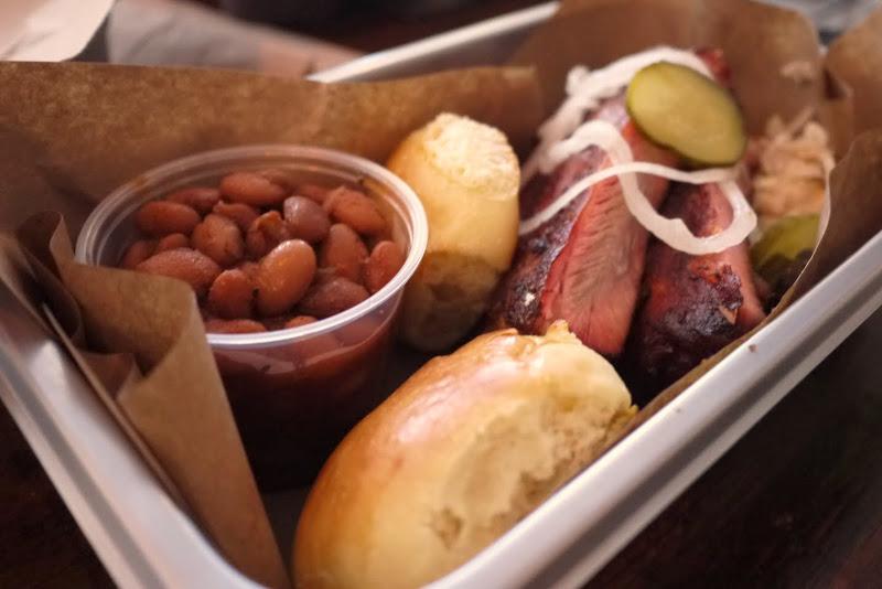 Pork Ribs and baked beans at Blackstrap BBQ