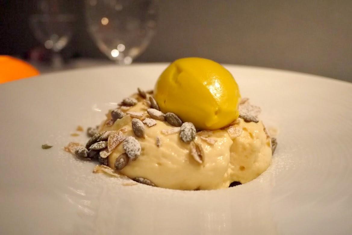 Squash & White Chocolate Mousse with Lemony Cake and Squash Ice-cream